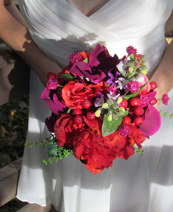 Snap Red Rose Purple Orchid Wedding Bouquet...SALE PRICED photos on ...