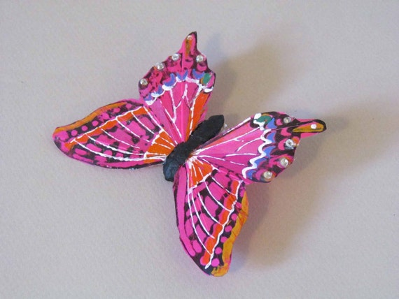 Hot Pink Butterfly Hair Clip with Rhinestones for Prom or Weddings