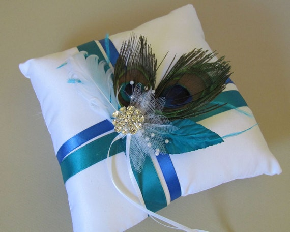 Peacock Feather Ring Bearer Pillow...Sale Priced