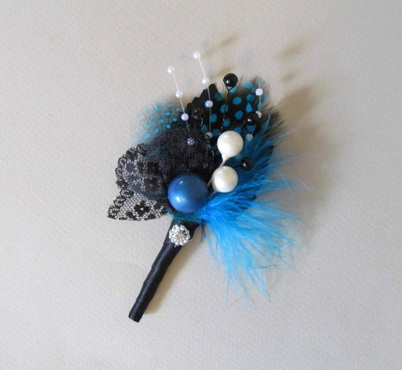 Teal Blue Art Deco Feather Boutonniere