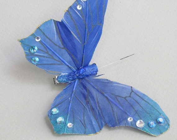 SALE PRICED Blue Butterfly Hair Clip with Rhinestones for Prom or Weddings
