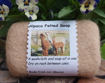 1 Bar Alpaca Felted Soap, 3.1 ounce bar, From my alpacas