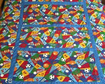 Twin Multi Sport Quilt for Boys, Kids, Teens, Adult, Dorm Room