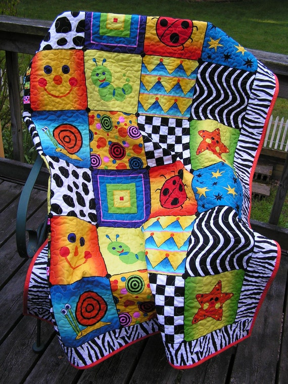"Baby, Toddler Quilt 42"" x 52"" with Primary Colors, Happy Face, Bugs, Geometric Design"