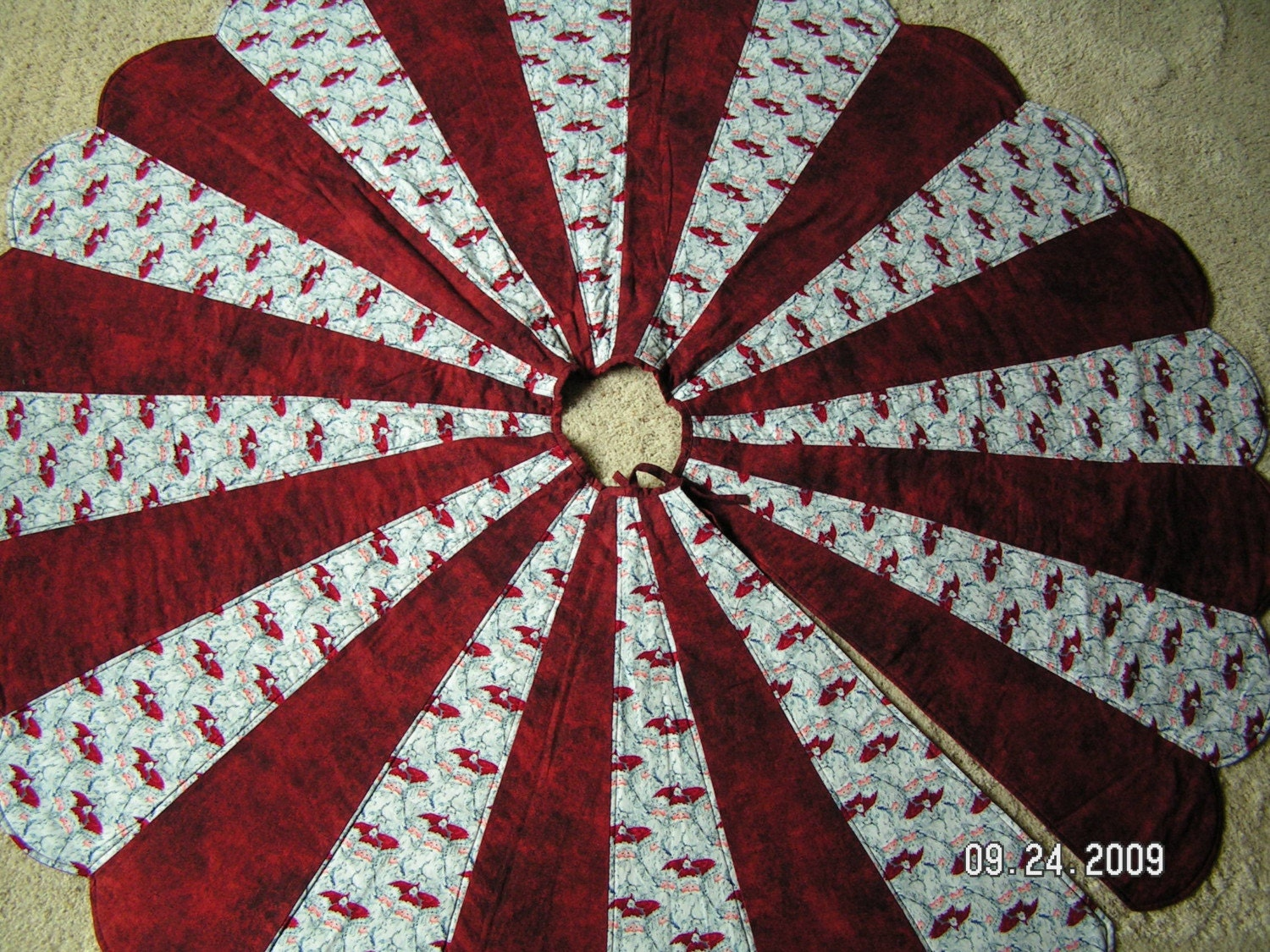 67 Inch Quilted Christmas Tree Skirt