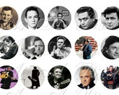 Johnny Cash Sampler Size - INSTANT DOWNLOAD - One Inch Circles - 4 x 6 inch Digital Collage Sheet