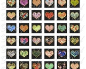 Chiyogami Hearts - 2 sizes - Inchies AND .75 x .83 inch - Digital Collage Sheet - INSTANT DOWNLOAD