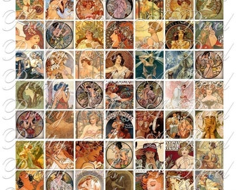 Alphons Mucha - Art Nouveau - 3 sizes - Inchies, 7-8 inch, AND scrabble tile size .75 x .83 inch - Digital Collage Sheet - INSTANT DOWNLOAD