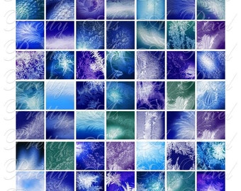 Cold Crystals - Frost & Ice - Digital Collage Sheet - 3 sizes - Inchies, 7-8 inch, AND scrabble size .75 x .83 inch - INSTANT DOWNLOAD