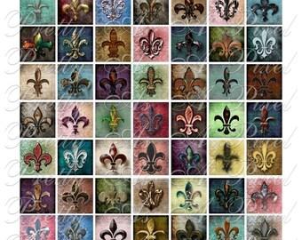Fleur de Lis 1, Grunge - 2 sizes - Inchies, 7-8 inch, AND scrabble tile size .75 x .83 inch - Digital Collage Sheet - INSTANT DOWNLOAD