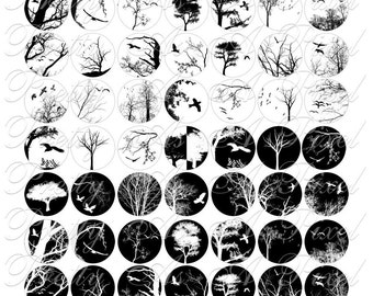 Birds and Trees - Silhouettes - One Inch Circles - Digital Collage Sheet - INSTANT DOWNLOAD