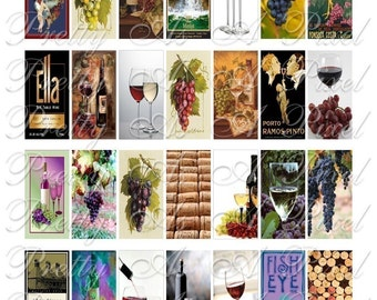 Wine - Domino Size 1 x 2 inch - INSTANT DOWNLOAD - Digital Collage Sheet