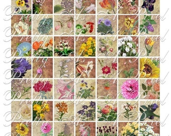 A Touch of Vintage - Flowers - 3 sizes - Inchies, 7-8 inch, AND scrabble tile size .75 x .83 inch - Digital Collage Sheet - INSTANT DOWNLOAD