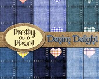 Denim Delight - INSTANT DOWNLOAD - Digital Paper Pack - Scrapbooking Backgrounds - 12 x 12 - Set of 12