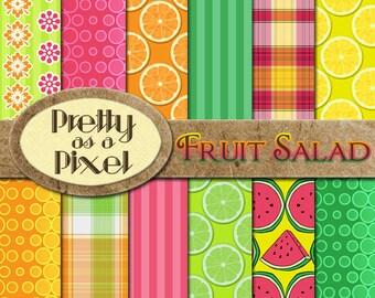 Fruit Salad - Digital Paper Pack - INSTANT DOWNLOAD - Scrapbooking Backgrounds - 12 x 12 - Set of 12