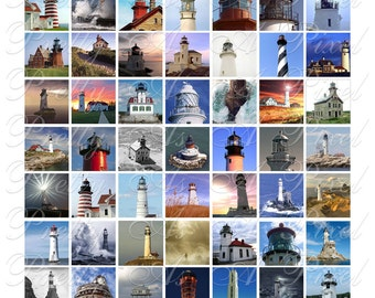 Lighthouses - 3 sizes - Inchies, 7-8 inch, AND scrabble tile size .75 x .83 inch - Digital Collage Sheet - INSTANT DOWNLOAD