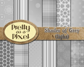 Shades of Grey 1 - Light Grey Tones - Digital Paper Pack - Scrapbooking Backgrounds - 12 x 12 - Set of 12 - INSTANT DOWNLOAD