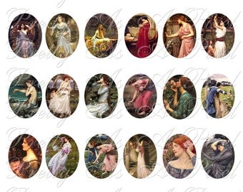 John William Waterhouse - 30 x 40 mm ovals - INSTANT DOWNLOAD - Digital Collage Sheet