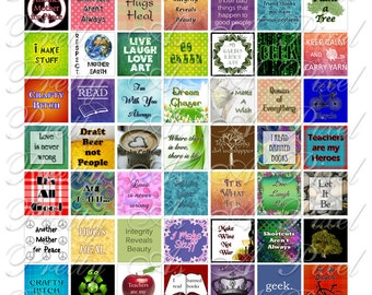 Snippets of Wisdom - 2 sizes - Inchies AND scrabble tile size .75 x .83 inch - Digital Collage Sheet - INSTANT DOWNLOAD