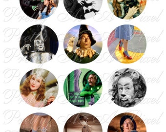 Wizard of Oz - Two Inch Circles - INSTANT DOWNLOAD - Digital Collage Sheet - 2 inch