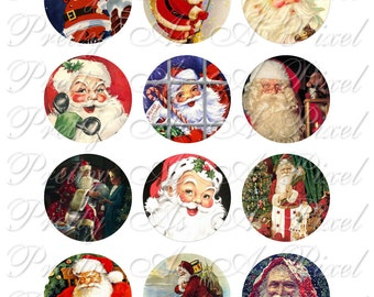 Retro Santa - Two Inch Circles - INSTANT DOWNLOAD - Digital Collage Sheet - 2 inch