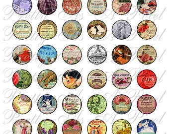 French Ephemera - Posters, Labels, Postage and more - INSTANT DOWNLOAD - One Inch Circles - Digital Collage Sheet