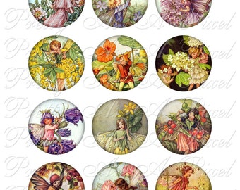 Flower Fairies - 2 inch circles - INSTANT DOWNLOAD - Two Inch - Digital Collage Sheet
