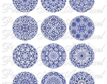 Blue & White Chintzware - 2 inch circles - Two Inch - INSTANT DOWNLOAD - Digital Collage Sheet
