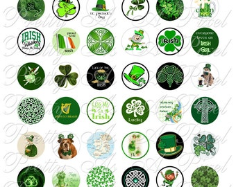 Kiss Me I'm Irish - INSTANT DOWNLOAD - Luck O' The Irish - St. Patrick's Day - One Inch Circles - Digital Collage Sheet