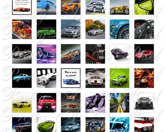Cars - 2 sizes - Inchies AND scrabble tile size .75 x .83 inch - Digital Collage Sheet - INSTANT DOWNLOAD