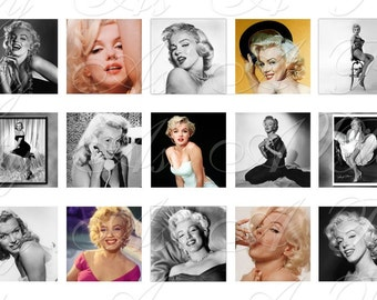 Marilyn Monroe - Inchies, 7-8 inch, and scrabble tile size .75 x .83 inch - 4x6 inch sampler - Digital Collage Sheet - INSTANT DOWNLOAD