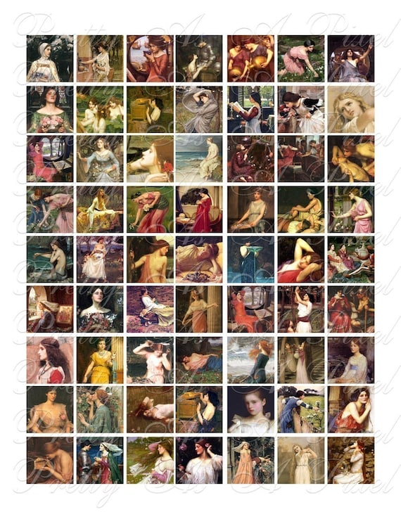 John William Waterhouse - 3 sizes - Inchies, 7-8 inch, AND scrabble tile size .75 x .83 inch - Digital Collage Sheet - INSTANT DOWNLOAD