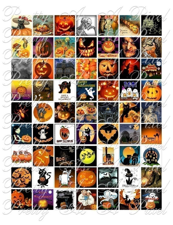 Halloween - 3 sizes - Inchies, 7-8 inch, AND scrabble tile size .75 x .83 inch - Digital Collage Sheet - INSTANT DOWNLOAD