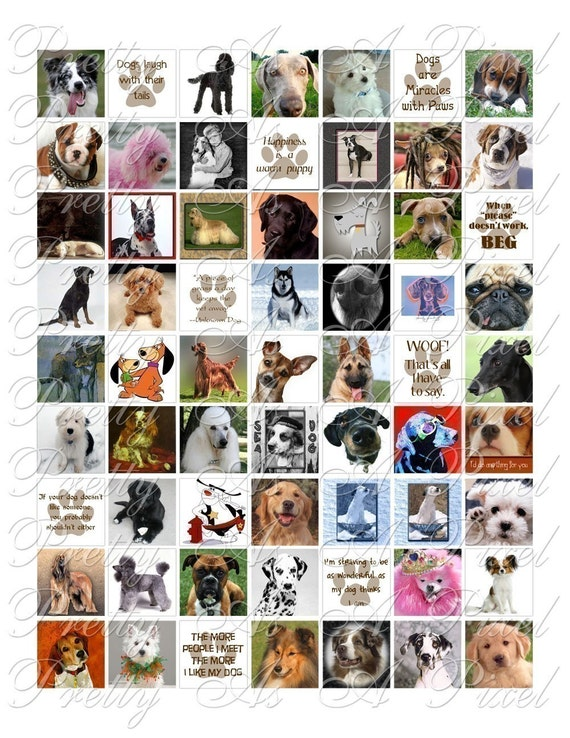 Dogs - 3 sizes - Inchies, 7-8 inch, AND scrabble tile size .75 x .83 inch - Digital Collage Sheet - INSTANT DOWNLOAD