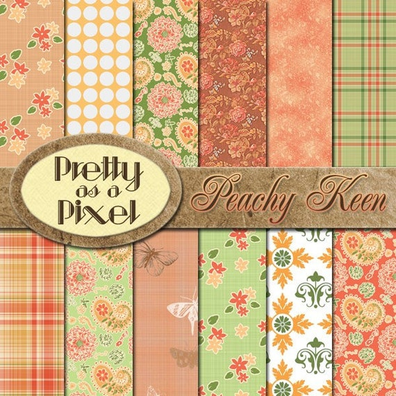 Peachy Keen - Digital Paper Pack - INSTANT DOWNLOAD - Scrapbooking Backgrounds - 12 x 12 - Set of 12