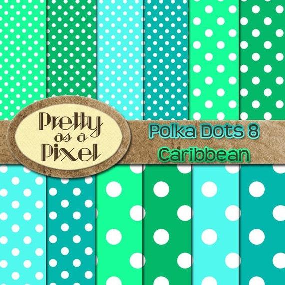 Polka Dots 8 - Caribbean Dots - Digital Paper Pack - Scrapbooking Backgrounds - 12 x 12 - Set of 12 - INSTANT DOWNLOAD