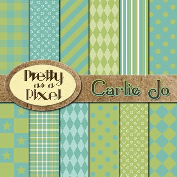 Carlie Jo - Digital Paper Pack - Scrapbooking Backgrounds - 12 x 12 - Set of 12 - INSTANT DOWNLOAD