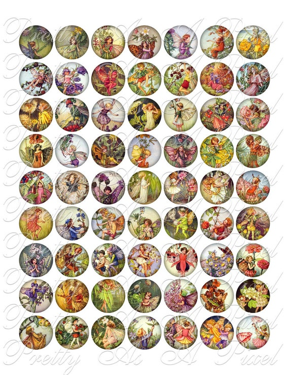 Flower Fairies - 1 inch circles - INSTANT DOWNLOAD - Digital Collage Sheet