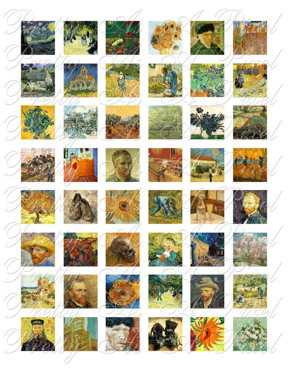 Vincent Van Gogh - 2 sizes - Inchies AND scrabble tile size .75 x .83 inch - Digital Collage Sheet - INSTANT DOWNLOAD