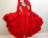 Sanguine- Upcycled SnugglePants Sweater Coat with a Medieval Liripipe Hood and Bell Sleeves- READY TO SHIP