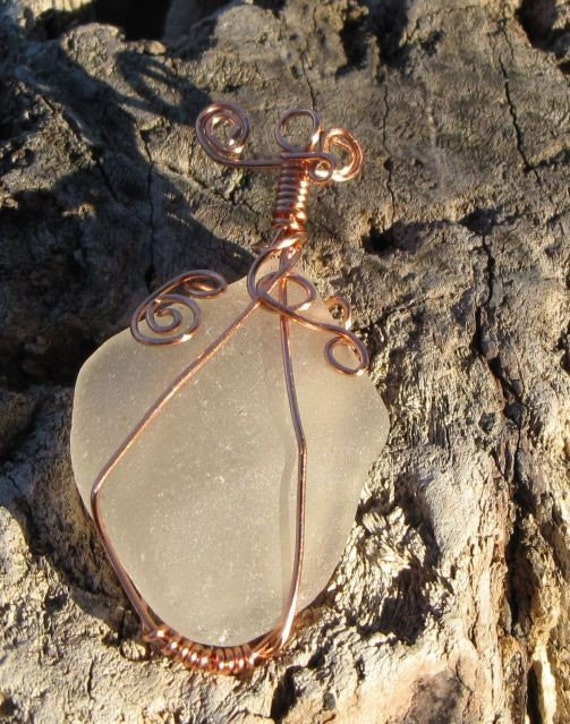 free shipping - Puget Sound genuine sea glass wire wrapped pendant - Chunky Frosted White - Eco friendly jewelry - wear a piece of history