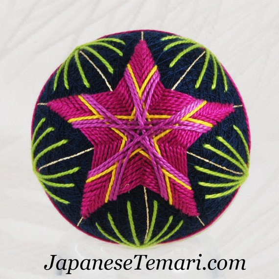 Hot Pink Star ornament home decor Japanese temari SALE