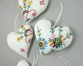 Vintage Linen Hearts - set of five
