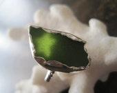 Hawaiian Kelly Green Sea Glass Ring