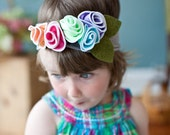 Rainbow Sherbet hydrangeas SNUGARS headband infant toddler newborn girls head band