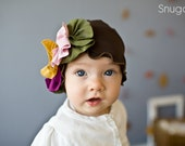 Chestnut and fall WiLdflowers little girls beanie-- Snugars Fall/winter hat