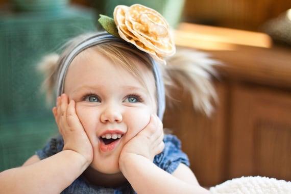 designer blossom SNUGARS yellow polka dot headband hair band hat beanie cap baby infant toddler girl newborn