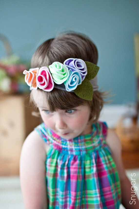 Rainbow Sherbet hydrangeas SNUGARS headband infant toddler newborn girls head band