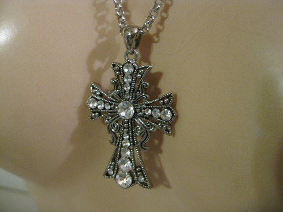 Vintage Ornate and Rhinestones  Cross Pendant and Silvertone Metal Chain   ( 2160 )