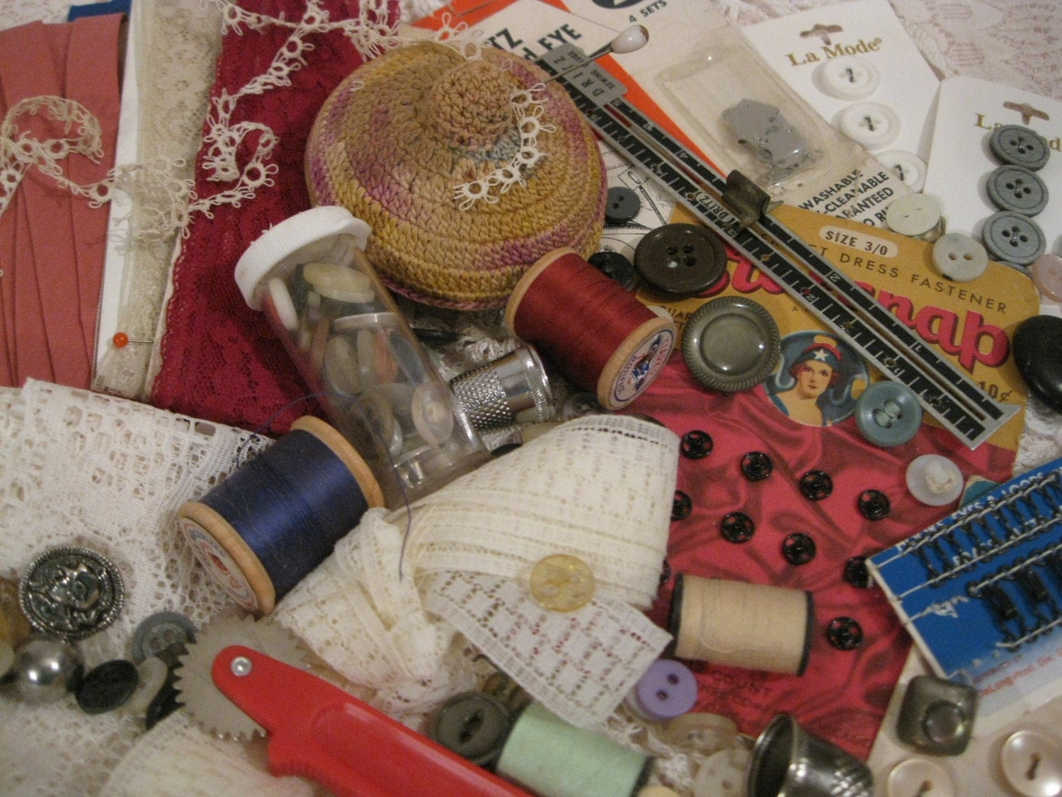 Lot of vintage sewing notions sewing supplies and for Sewing materials